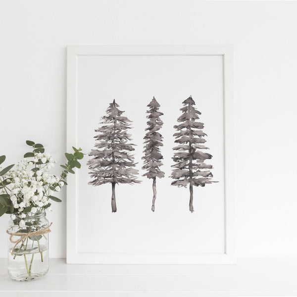 Modern Minimalist Black + White Pine Tree Trio Wall Art Print - Jetty Home