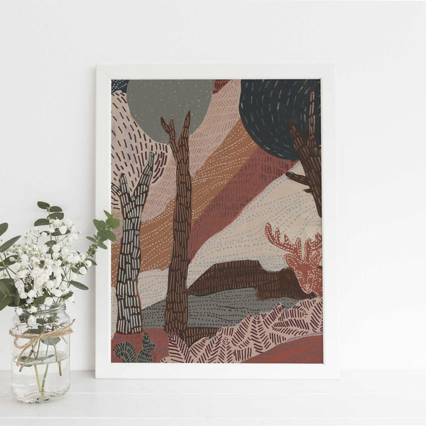 Woodland Boho Patterned Abstract Painting Warm Wall Art Print or Canvas - Jetty Home
