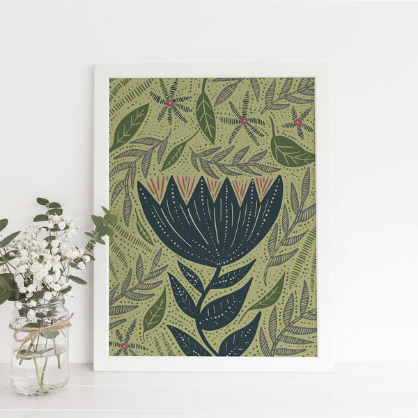 Whimsical Wildflower Floral Scandinavian Inspired Wall Art Print or Canvas - Jetty Home