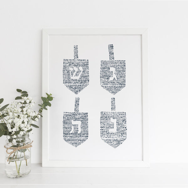 Blue and White Modern Dreidel Hanukkah Wall Art Print or Canvas - Jetty Home