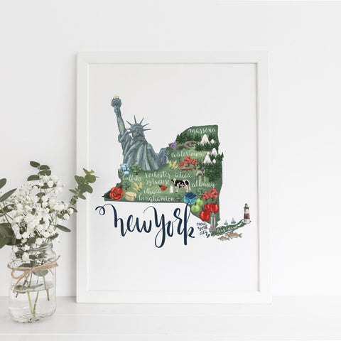 New York State Map Art Print - Jetty Home