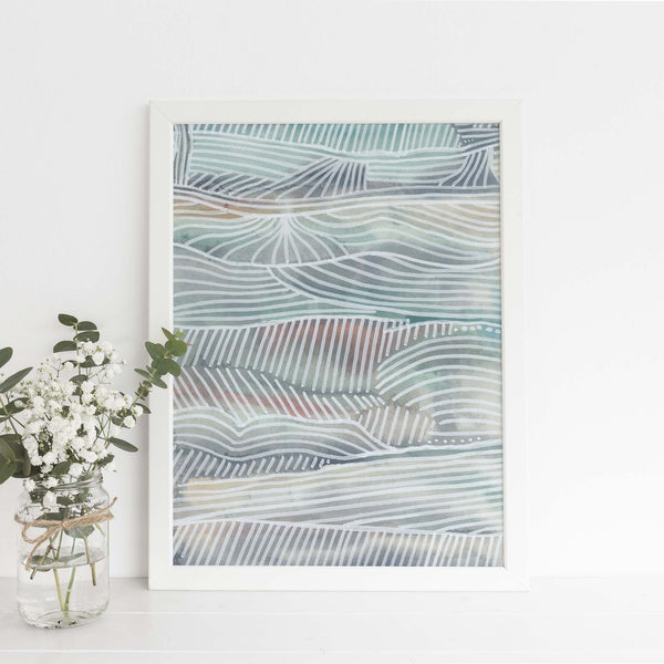 Modern Abstract Coastal Seascape Surfer Wall Art Print or Canvas - Jetty Home