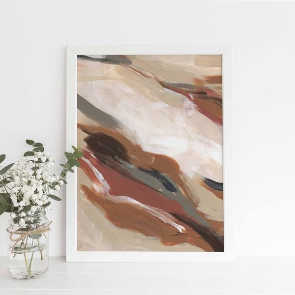 Terracotta Beige and Brown Modern Autumn Abstract Painting Wall Art Print or Canvas - Jetty Home