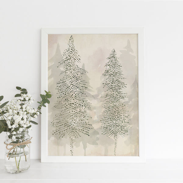 Evergreen Pine Tree Line Misty Ethereal Forest Wall Art Print or Canvas - Jetty Home