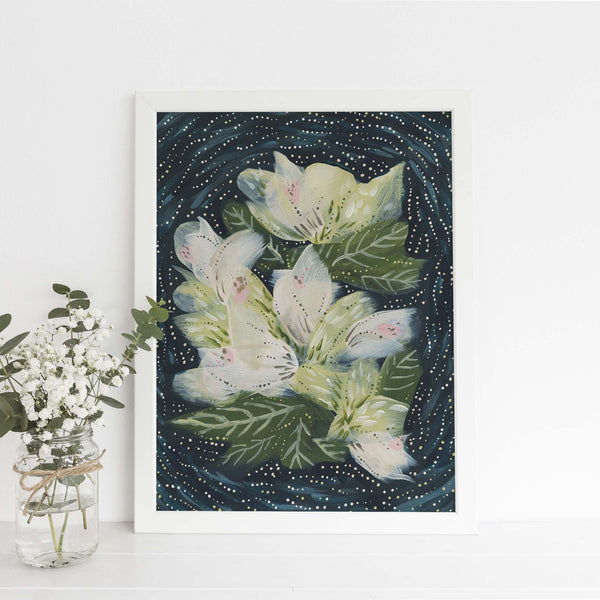 Whimsical Blue and White Wildflower Painting Wall Art Print or Canvas - Jetty Home