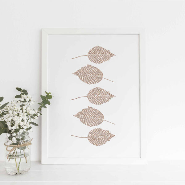Burnt Orange Leaf Artwork Modern Botanical Wall Art Print or Canvas - Jetty Home
