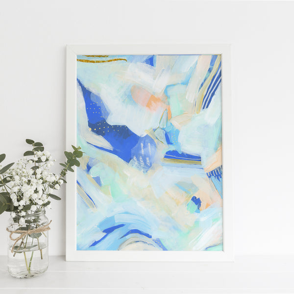 Flow Coastal Abstract Contemporary White and Blue Painting Wall Art Print or Canvas - Jetty Home