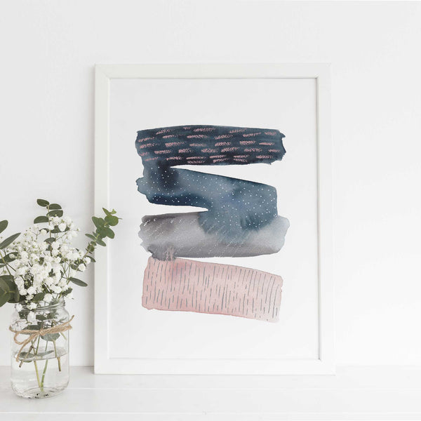 Abstract Stripes Pattern Modern Watercolor Wall Art Print or Canvas - Jetty Home