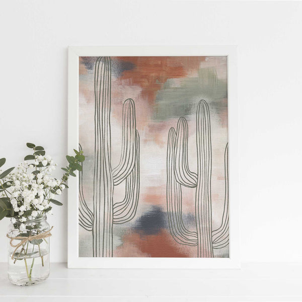 Earth Tones Saguaro Cactus Painting Wall Art Print or Canvas - Jetty Home