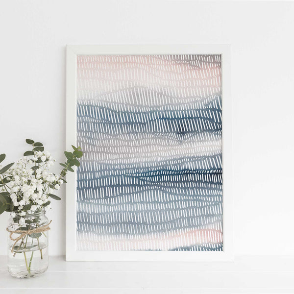 Ocean Currents Trendy Watercolor Painting Ethereal Wall Art Print or Canvas - Jetty Home