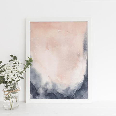 Modern Abstract Blush + Indigo Art Print or Canvas - Jetty Home