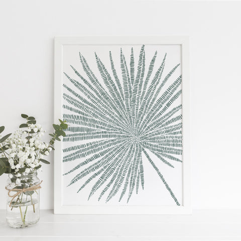 Palm Fan Leaf Modern Minimalist Tropical Green Wall Art Print or Canvas - Jetty Home