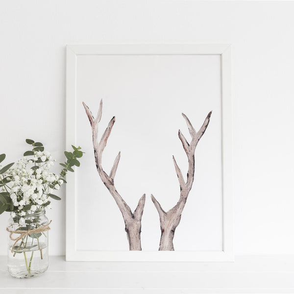 Rustic Deer Antler Watercolor Wall Art Print or Canvas - Jetty Home