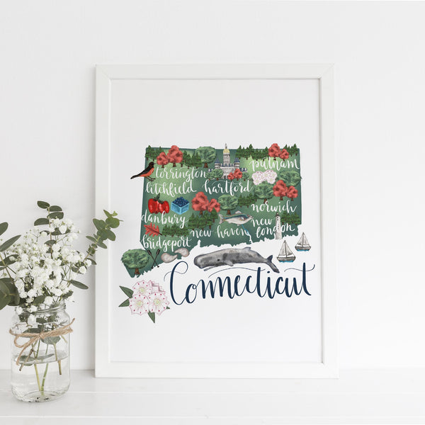 Connecticut State Map Art Print - Jetty Home