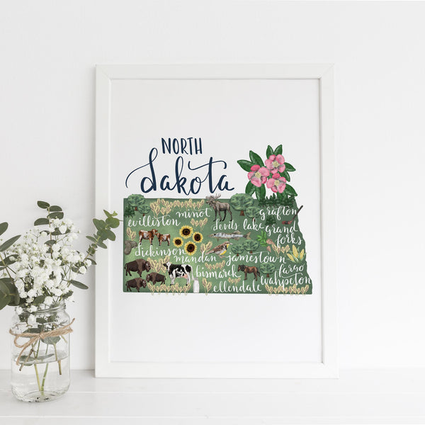 North Dakota State Map Art Print - Jetty Home