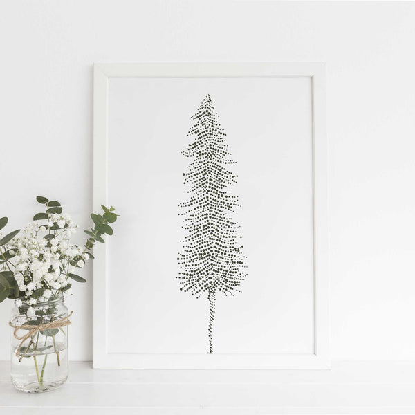 Nordic Pine Tree Ethereal Illustration Wall Art Print or Canvas - Jetty Home