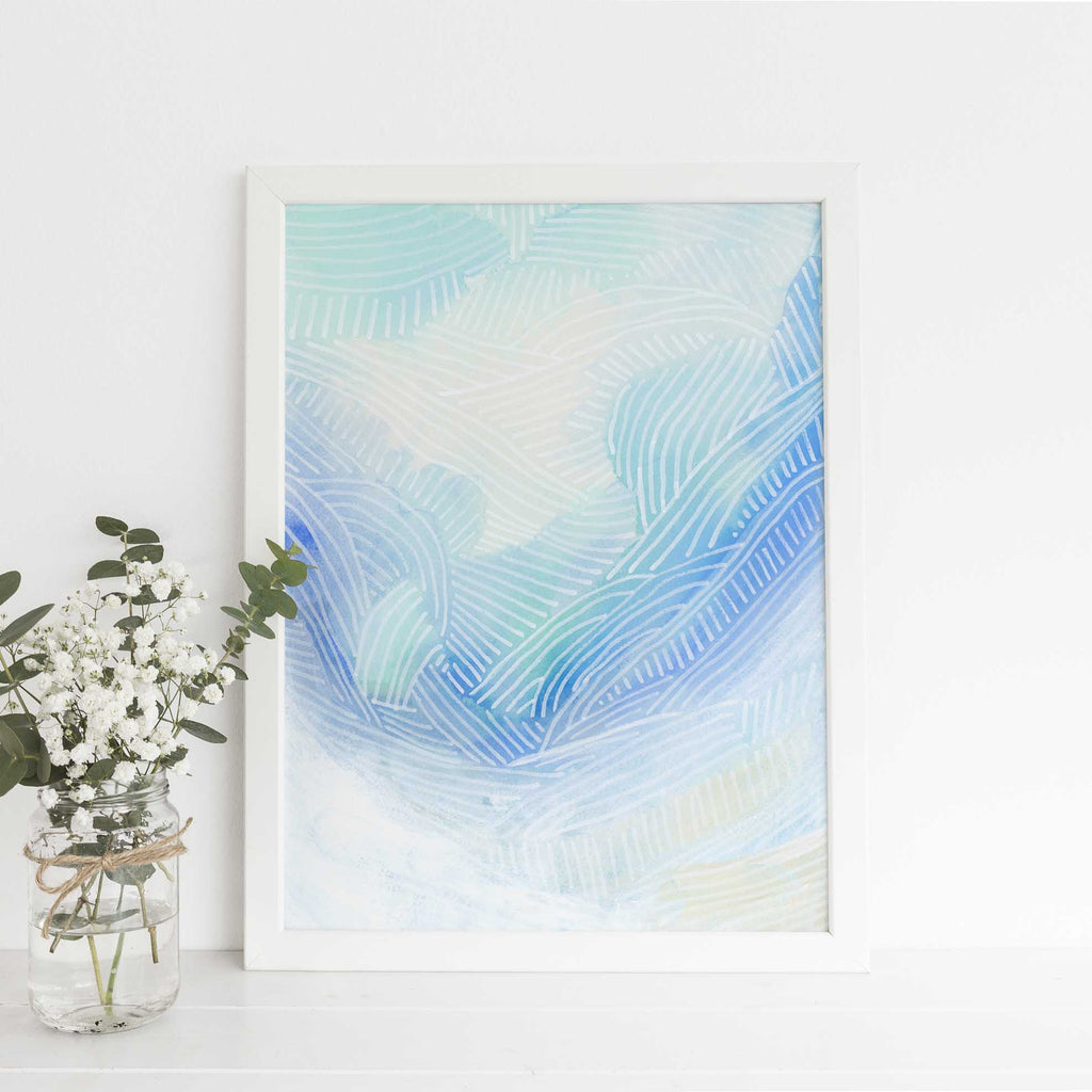 Ocean Watercolor Modern Painting Blue and Turquoise Wall Art Print or Canvas - Jetty Home