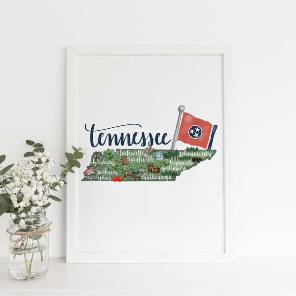 Tennessee State Map Art Print - Jetty Home