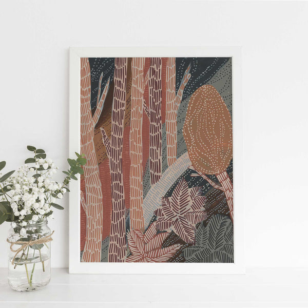 Into the Forest Modern Bohemian Painting Wall Art Print or Canvas - Jetty Home