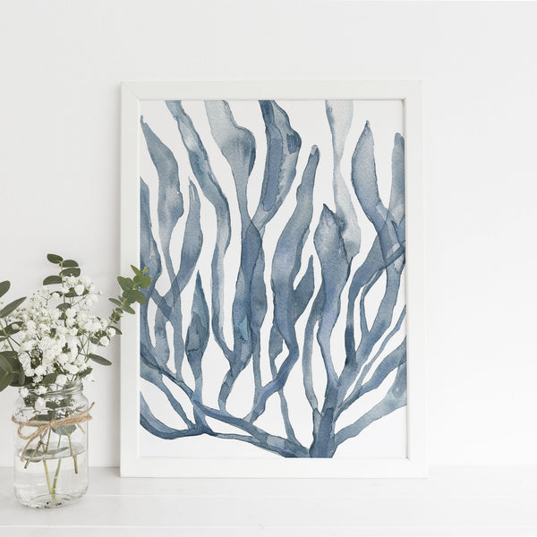 Blue Watercolor Seaweed Painting Art Print - Jetty Home