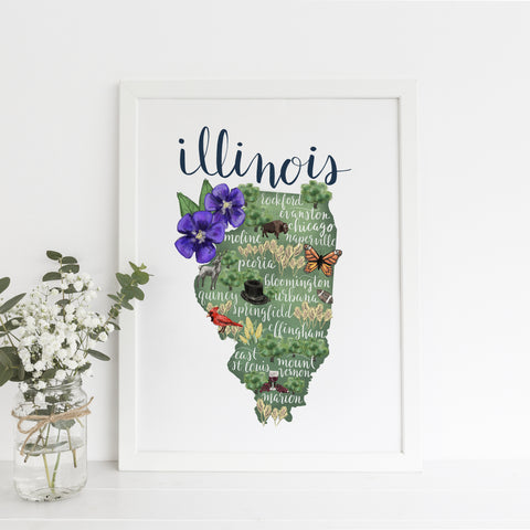 Illinois State Map Art Print - Jetty Home