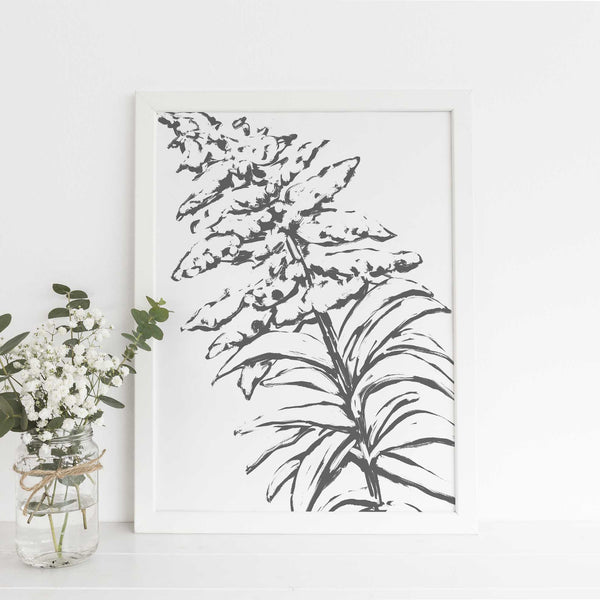 Goldenrod Modern Floral Minimalist Farmhouse Country Wall Art Print or Canvas - Jetty Home