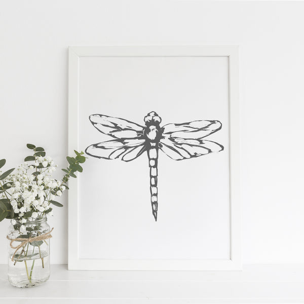 Dragonfly Modern Farmhouse Wall Art Print or Canvas - Jetty Home