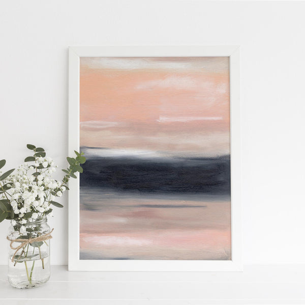 Large Modern Statement Piece Abstract Pink, Navy and Beige Wall Art Print or Canvas - Jetty Home