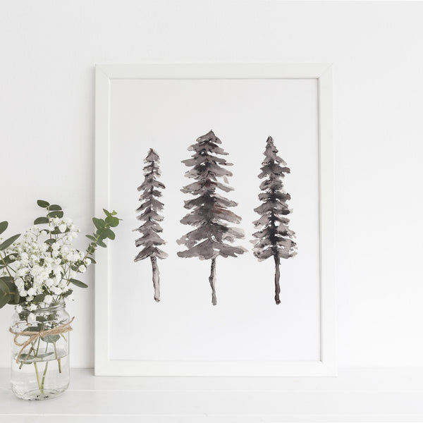 Nordic Pine Tree Ink Painting Wall Art Print or Canvas - Jetty Home