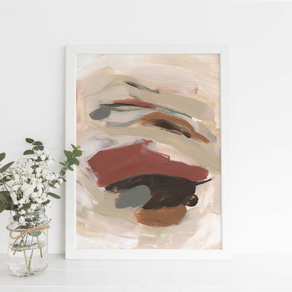 Simple Neutral Warm Abstract Painting Modern Wall Art Print or Canvas - Jetty Home