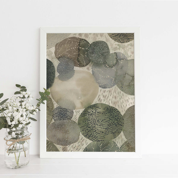 Abstract Forest Watercolor Painting Stone Inspired Wall Art Print or Canvas - Jetty Home