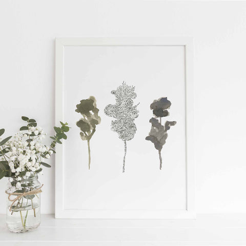 Misty Forest Ethereal Tree Watercolor Trio Wall Art Print or Canvas - Jetty Home