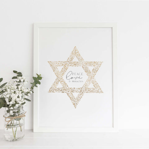 Peace, Love and Light Star of David Hanukkah Wall Art Print or Canvas - Jetty Home
