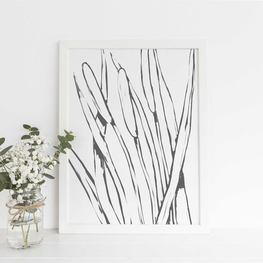 Pond Reed Cattails Modern Farmhouse Country Wall Art Print or Canvas - Jetty Home