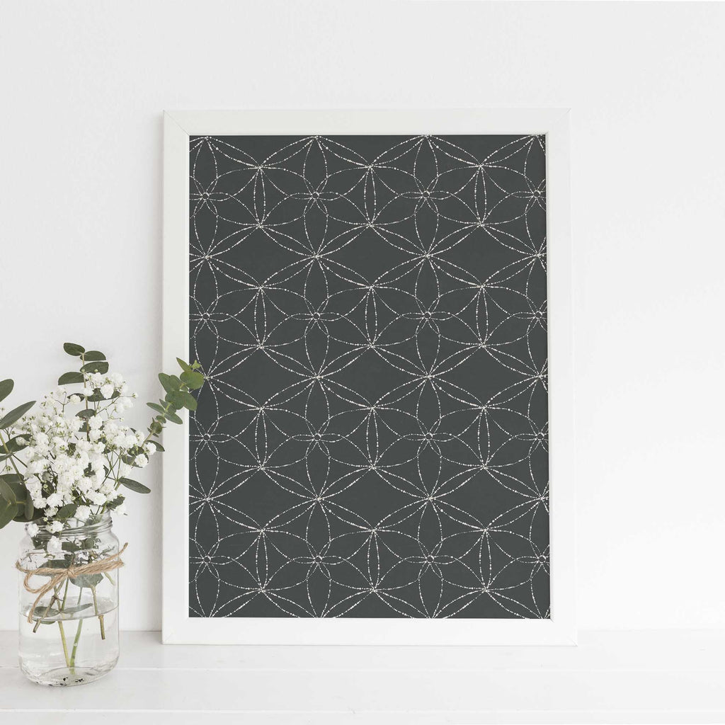 Rustic Navy Blue Modern Pattern Drawing Wall Art Print or Canvas - Jetty Home