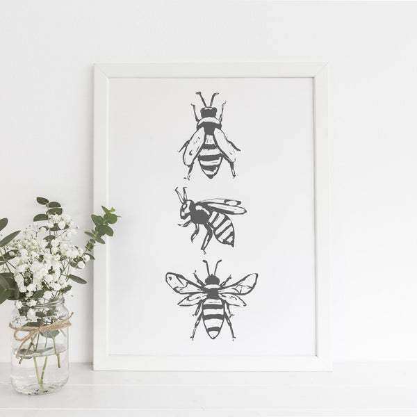 Bee Trio Modern Countryside Wall Art Print or Canvas - Jetty Home