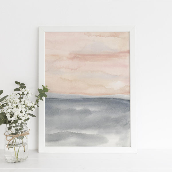 Modern Watercolor Painting Blush and Slate Art Print - Jetty Home