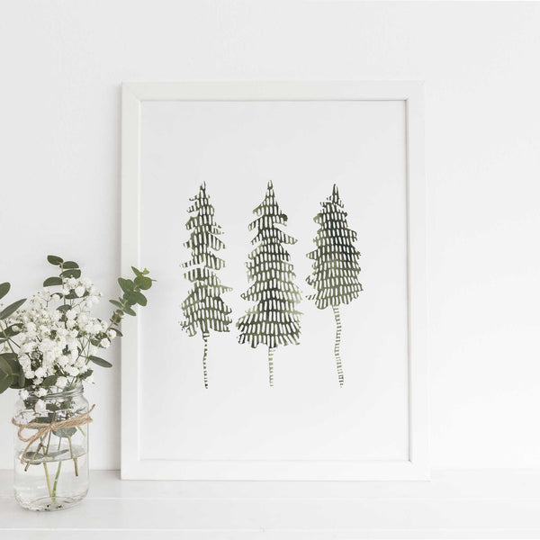 Pine Tree Trio Modern Forest Wall Art Print or Canvas - Jetty Home