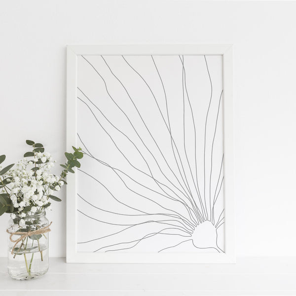 Minimalist Seaweed Kelp Illustration Coastal Wall Art Print or Canvas - Jetty Home