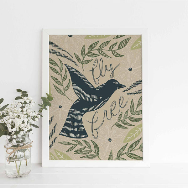 Fly Free Whimsical Dove Scandinavian Inspired Wall Art Print or Canvas - Jetty Home