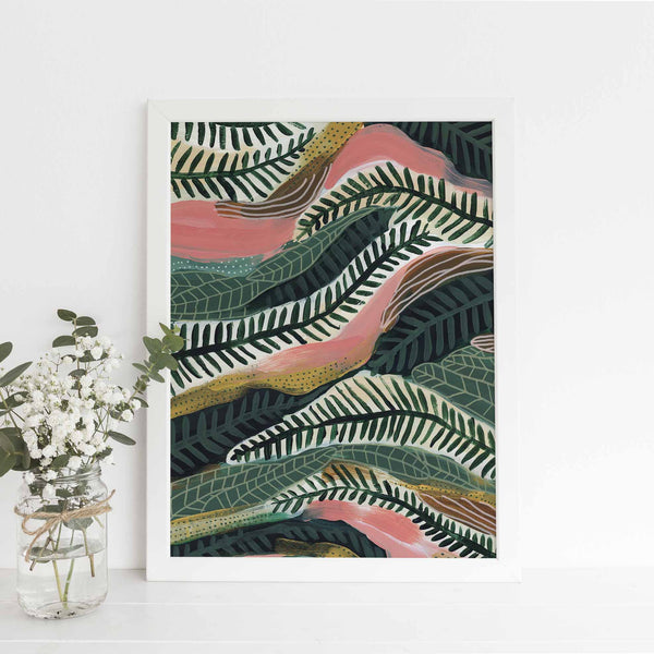 Modern Abstract Jungle Botanical Forest Painting Wall Art Print or Canvas - Jetty Home