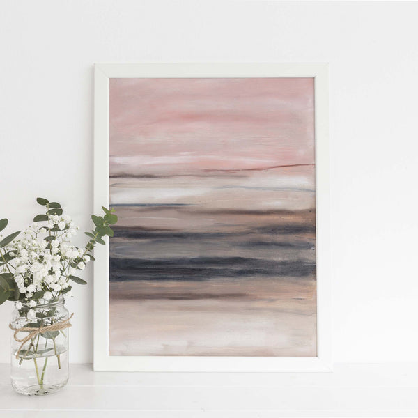Blush and Beige Modern Minimalist Abstract Painting Wall Art Print - Jetty Home