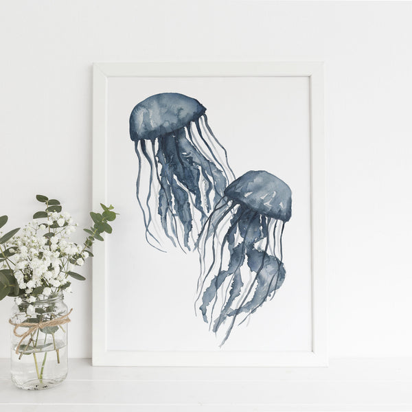 Navy Blue Jellyfish Painting Art Print - Jetty Home