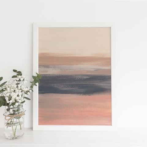 Warm Neutral Modern Desert Landscape Painting Wall Art Print - Jetty Home