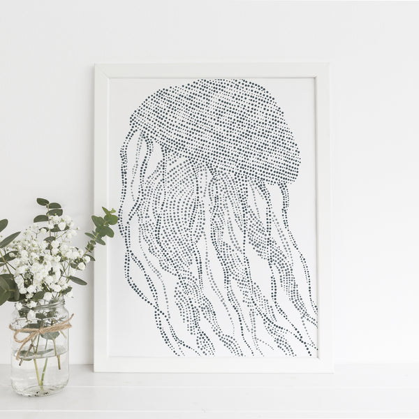 Minimalist Jellyfish Illustration Coastal Gray Blue Wall Art Print or Canvas - Jetty Home