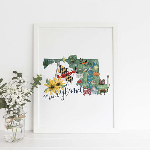 Maryland State Map Art Print - Jetty Home