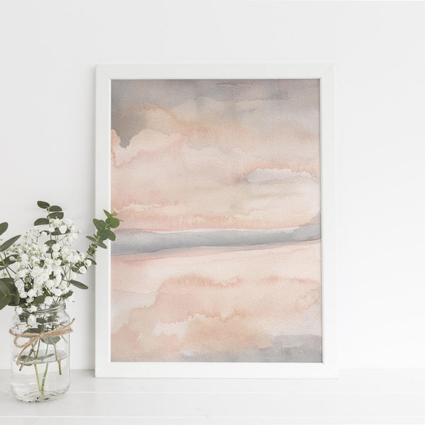 Neutral Blush Contemporary Watercolor Art Print or Canvas - Jetty Home