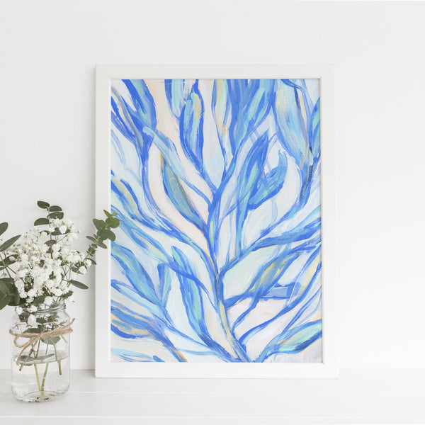 Seaweed Turquoise Blue Bright Modern Beach Painting Wall Art Print or Canvas - Jetty Home