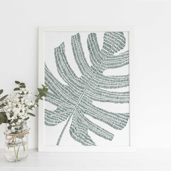 Monstera Palm Leaf Modern Minimalist Tropical Green Wall Art Print or Canvas - Jetty Home