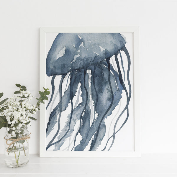 Blue Watercolor Jellyfish Modern Art Print or Canvas - Jetty Home